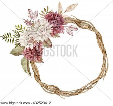 Watercolor Fall Wreath Decorated With Aster Flowers, Autumn Leaves. Beautiful Floral Circle Frame.