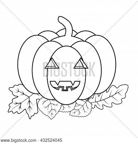 Black And White Pumpkin Face Smiling With Autumn Leaves. Vector Illustration In Doodle Style For Col