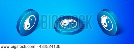 Isometric Yin Yang Symbol Of Harmony And Balance Icon Isolated On Blue Background. Blue Circle Butto