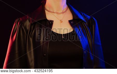 Fashion Model Girl In Neon Light, Beautiful Model Woman With Make-up, Art Design Of Female Disco Dan