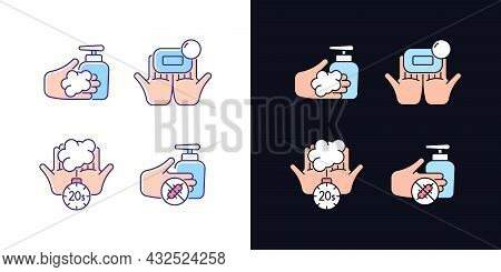 Hand Hygiene Light And Dark Theme Rgb Color Icons Set. Wash With Brick Soap. Antimicrobial Skin Clea