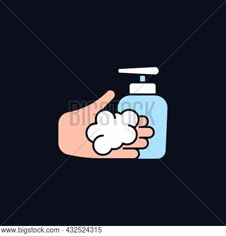 Washing With Liquid Soap Rgb Color Icon For Dark Theme. Minimize Germs Transfer Risk. Antimicrobial