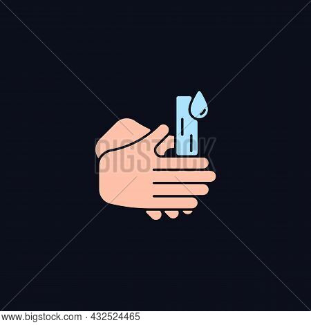 Rub Palms Together Rgb Color Icon For Dark Theme. Rinsing Hands Under Cold Running Water. Lifting Di