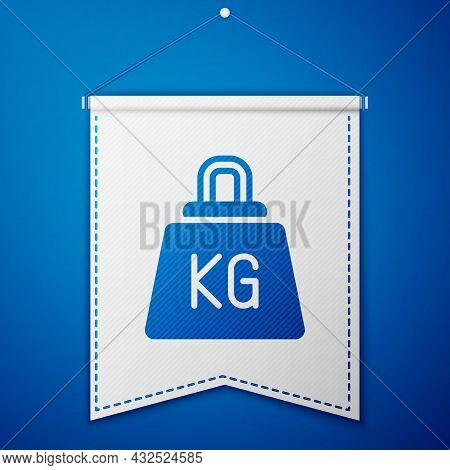 Blue Weight Icon Isolated On Blue Background. Kilogram Weight Block For Weight Lifting And Scale. Ma