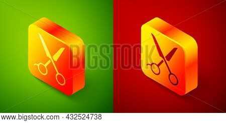 Isometric Scissors Hairdresser Icon Isolated On Green And Red Background. Hairdresser, Fashion Salon