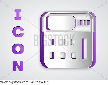 Paper Cut Calculator Icon Isolated On Grey Background. Accounting Symbol. Business Calculations Math