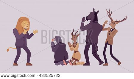 Animal Deer, Roe, Gull, Horse Kneel Before Angry Lion Boss. Workers And Strong Business Male Person