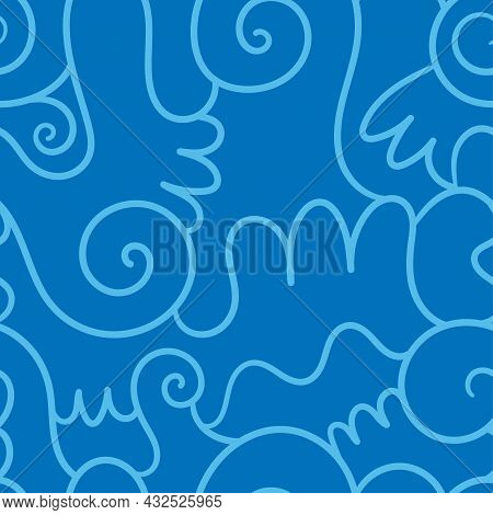 Abstract Seamless Pattern On Blue Background. Doodle  Wallpaper. Line Art Wave Print.