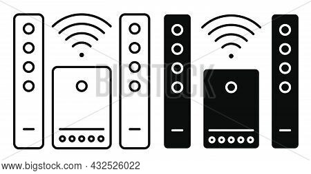 Linear Icon. Home Theater With Speakers And Wireless Peripheral Connections. Premium Home Cinema Equ