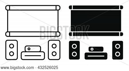 Linear Icon. Home Theater With Speakers And Projector Screen. Premium Home Cinema Equipment. Simple