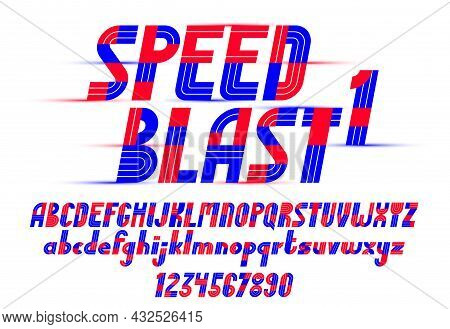 Speed Blast Sport Style Font, Vector Geometric Futuristic Alphabet, Numbers Included, 90S Style Tech