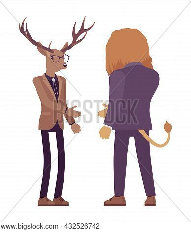 Animals, Deer, Lion Meeting To Greet, Reach Out Hand Shake. Large Male Beasts Wearing Formal Human B