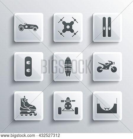 Set Atv Motorcycle, Skate Park, Motorcycle, Surfboard, Roller Skate, Snowboard, Vintage Sport Racing