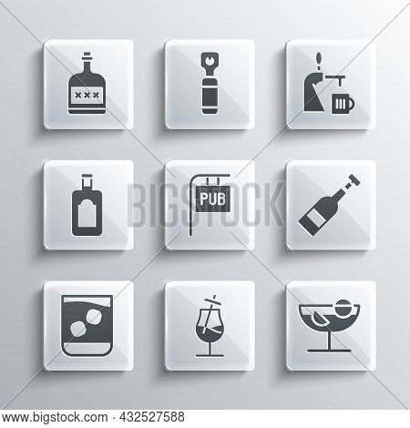 Set Cocktail, Opened Bottle Of Wine, Street Signboard With Pub, Glass Whiskey, Whiskey, Alcohol Drin
