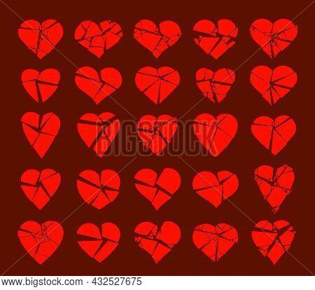 Hearts Broken To Pieces Like A Glass Vector Logos Or Icons Set, Broken Heart Concept, Breakup Or Div