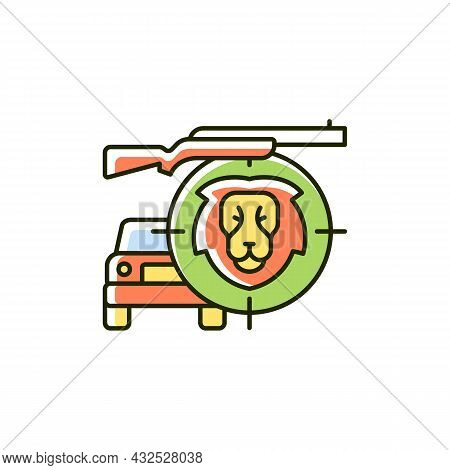 Safari Rgb Color Icon. Wildlife Animals Viewing And Hunting. African Journey. Safari Vehicle. Tour T