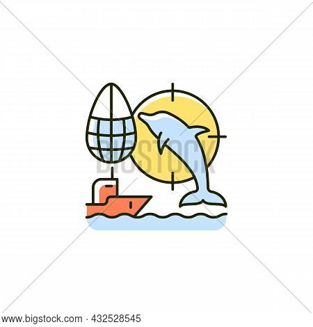 Dolphin Drive Hunting Rgb Color Icon. Drive Dolphins With Boat To Shore And Kill. Fishing Method. Tr