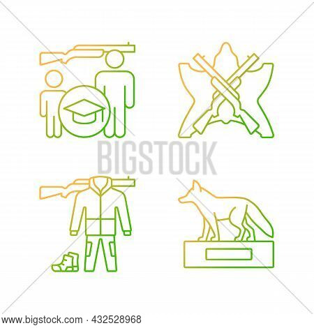 Hunting Trophy And Equipment Gradient Linear Vector Icons Set. Hunting Junior Education. Apparel And