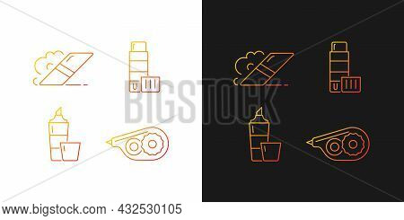 School Accessories Gradient Icons Set For Dark And Light Mode. Highlighter. Correction Tape. Thin Li