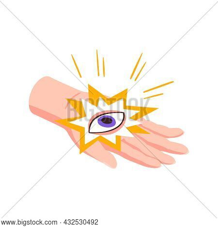 Isometric Icon With All Seeing Eye In Fortune Teller Hand 3d Vector Illustration