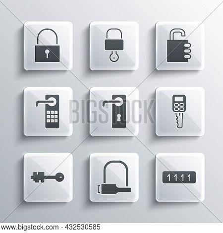 Set Bicycle Lock, Password Protection, Car Key With Remote, Door Handle, Old, Digital Door, Lock And