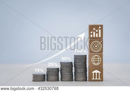 Coins Stack In Front Of Square Wood And Icon Arrow Business, Save Money Concept, Property Investment