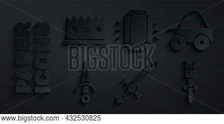 Set Medieval Sword, Wooden Four-wheel Cart, Dagger, Torch Flame, Diamond And King Crown Icon. Vector