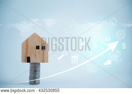 Coins Stack In Front Of Wooden Home And Arrow Business, Save Money Concept, Property Investment, Hou