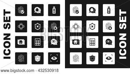 Set Usb Flash Drive, Shield With Cross Mark, Processor Microcircuits Cpu, Fingerprint, Cancelled Fin
