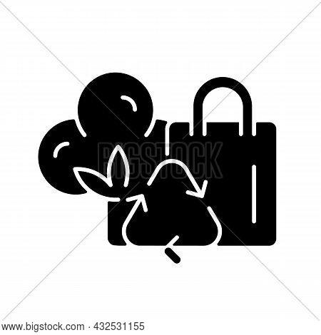 Recycled Cotton Tote Bags Black Glyph Icon. Eco-bags For Shopping. Environmentally Friendly Handbag.