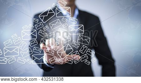 E-mail And Marketing Concept. Double Exposure Businessman Touch Email Pressing For Sending The E-mai