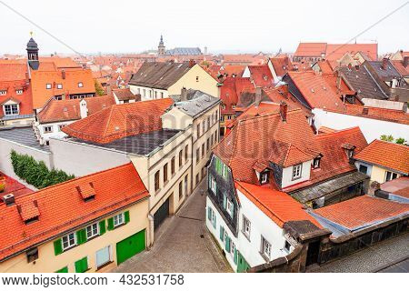 Bamberg Old Town View From Above . Aerial View Of Bamberg Town In Bavaria Germany