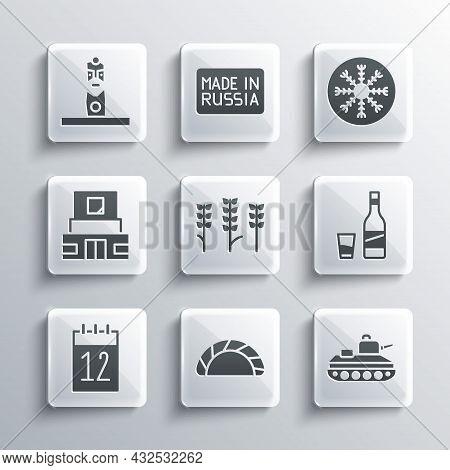 Set Dumpling, Military Tank, Bottle Of Vodka With Glass, Wheat, Calendar 12 June, Mausoleum Lenin, S