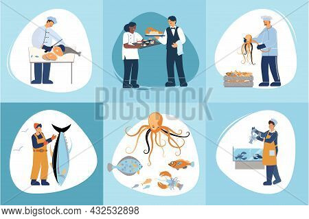 Flat Composition Set With Various Seafood Human Characters Catching Cooking Selling Fish Serving Mea