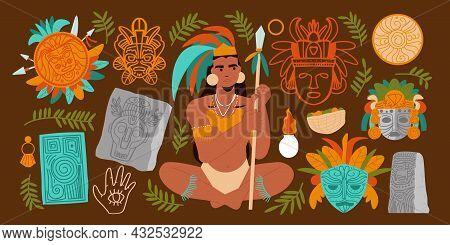 Flat Maya Civilization Big Set With Male Warrior Holding Spear Masks Stone Idols Leaves Isolated On