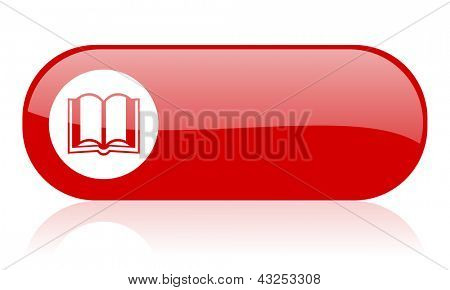 Buch rote Web glossy icon