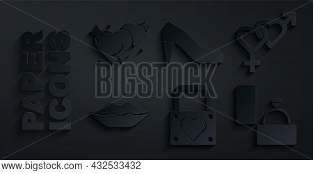 Set Lock And Heart, Gender, Smiling Lips, Diamond Engagement Ring, Woman Shoe And Two Linked Hearts