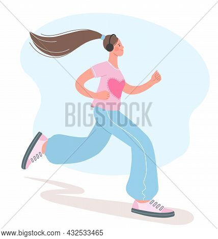 Beautiful Girl Is Engaged In Sports. Illustration Of Girl Jogging. Concept Of A Healthy Lifestyle. V