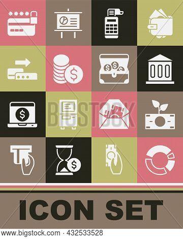 Set Pie Chart Infographic, Money Plant The Pot, Bank Building, Cash Register Machine, Coin Money Wit