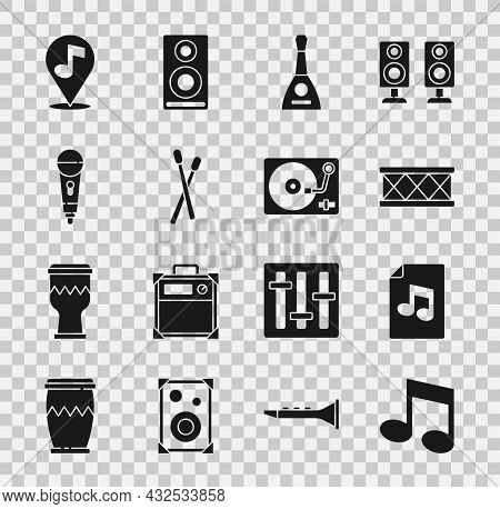 Set Music Note, Tone, Book With, Drum, Balalaika, Sticks, Microphone, Location Musical And Vinyl Pla