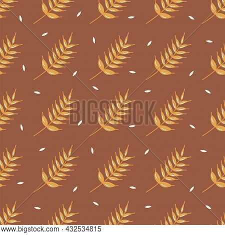Seamless Pattern Golden Sprig Of Wheat, Barley Or Rye. Ripe Cereal. Harvesting And Processing. Color