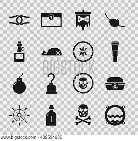 Set Ship Porthole With Seascape, Sailor Hat, Spyglass Telescope Lens, Pirate Flag, Bandana For Head,