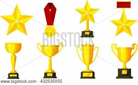A Set Of Awards. Cup, Medal, Zved. Gold Cups For Winners And Other Sports Trophies.