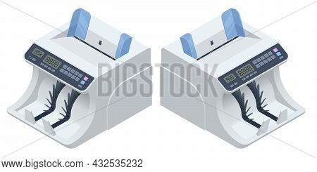 Isometric Money Counting Machine. Led Display Shows The Count Of The Bills. Digital Electronic Money