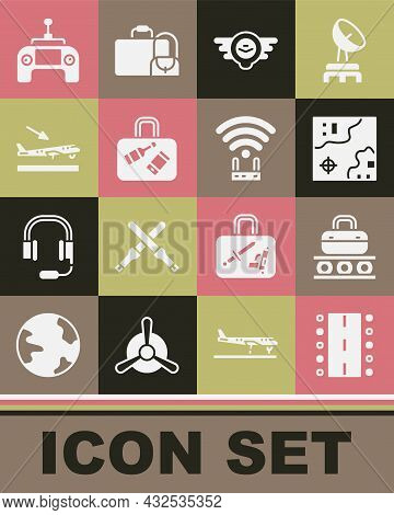 Set Airport Runway, Conveyor Belt With Suitcase, World Travel Map, Aviation Emblem, Suitcase, Plane