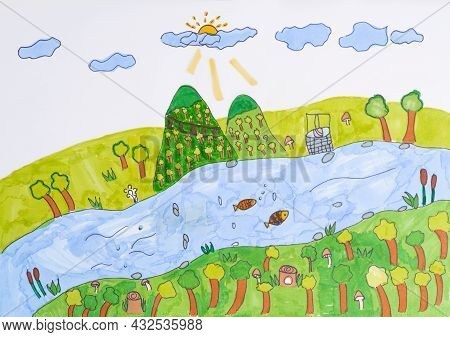 Child\'s Drawing Landscape River. Drawing Of Nature.landscape With Trees And River Child Drawing Fel