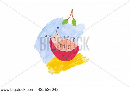 Photo Of Colorful Drawing Flower, Sun And Ladybugs On White Paper Background.child's Drawing Of A La
