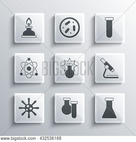 Set Test Tube And Flask, Microscope, Chemical Explosion, Bacteria, Atom, Alcohol Or Spirit Burner An