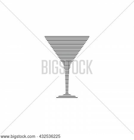 Martini Or Vermouth Glass In Minimalist Linear Style. Silhouette Of Glassware Performed In The Form