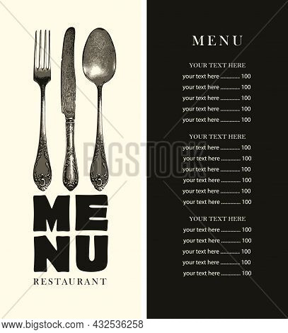 Vector Menu With A Price List And A Cover Decorated With An Antique Cutlery On A Black-white Backgro
